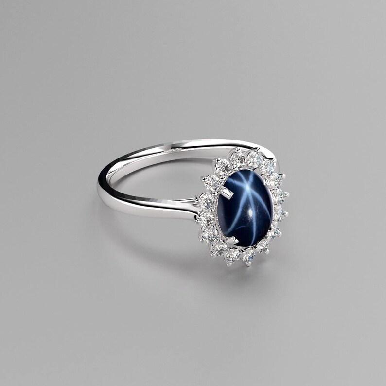 2bda9d96c153c1 Blue Star Sapphire Ring Sterling Silver / Blue Star Sapphire   Etsy