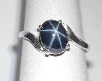 Genuine 2.7ct Blue Star Sapphire Ring Sterling Silver / Star Sapphire Ring Silver