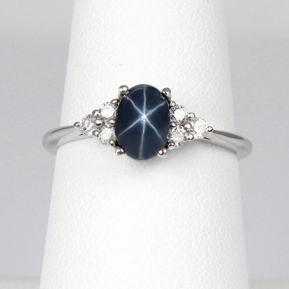 1f8348f2f4181c Blue Star Sapphire Ring Gold / 14K White Gold Blue Star   Etsy