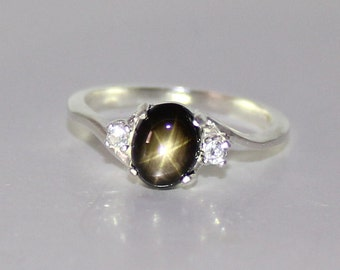 Natural Black Star Sapphire Ring Sterling Silver September Birthstone / Star Sapphire Ring Silver