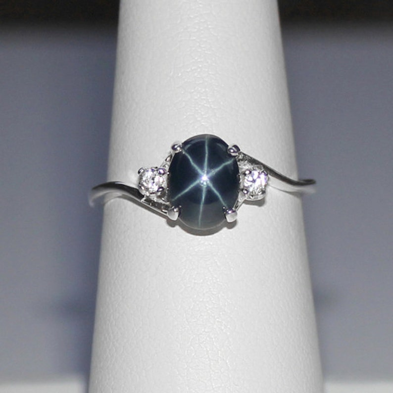 Genuine Blue Star Sapphire Ring Sterling Silver / Blue Star image 0