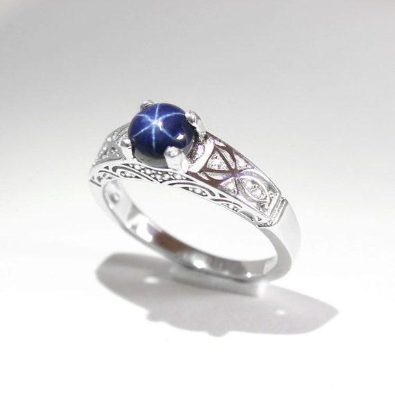 c700c9464c57d4 Blue Star Sapphire Ring Silver / Genuine Blue Star Sapphire   Etsy