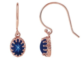 14K Rose Gold Blue Star Sapphire Earrings / Blue Star Sapphire Earrings Dangle / 4.2 Carats Star Sapphire Earrings