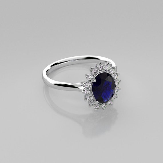 Blue Sapphire Ring Sterling Silver / Sapphire Halo Ring Silver