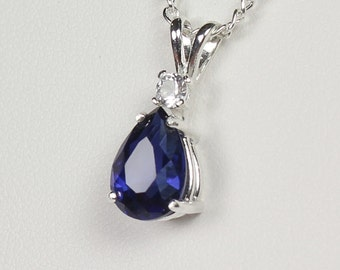 Blue Sapphire Sterling Silver Necklace / Blue Sapphire Pendant FREE CHAIN