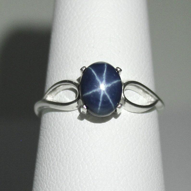 48bf6671daee7d Genuine Blue Star Sapphire Ring Sterling Silver / Star   Etsy