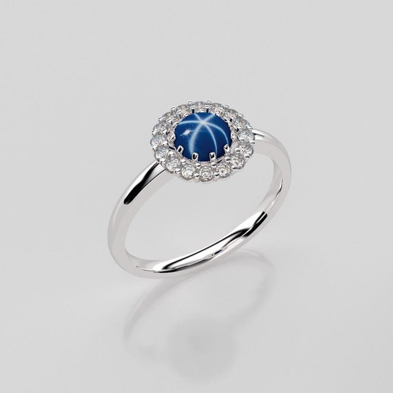 CHARMING 2 CT GENUINE AFRICAN STAR SAPPHIRE 925 STERLING SILVER RING SIZE 5-10