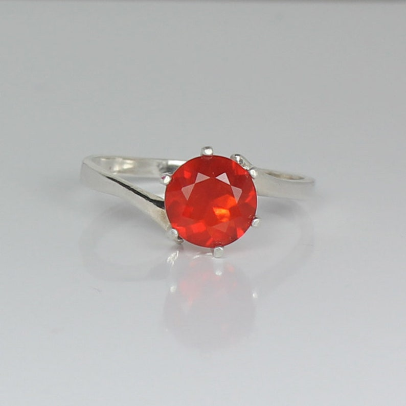 Natural Mexican Fire Opal Sterling Silver Ring  Mexican Fire Opal Ring Silver