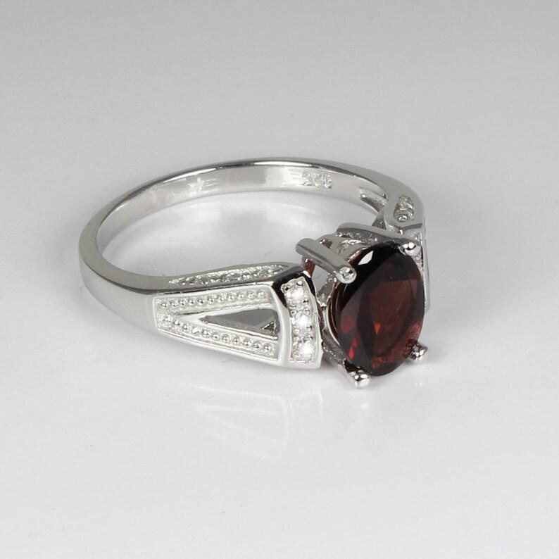 Natural Garnet Ring Silver  Sterling Silver Garnet Ring  January Birthstone