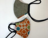 Reversible face mask linen-cotton,  adjustable cord ear/back of head (orange w/ colorful circles)