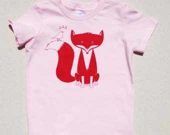 Fox Kid's T Shirt, Pink, 2T, 4T, 6T