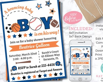 EDITABLE Sports Baby Shower Invitation - All Star Baby Shower - Sports Invitation - Editable Invitation - INSTANT DOWNLOAD