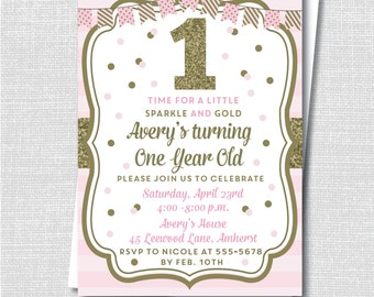 Pink And Gold Birthday Invitation