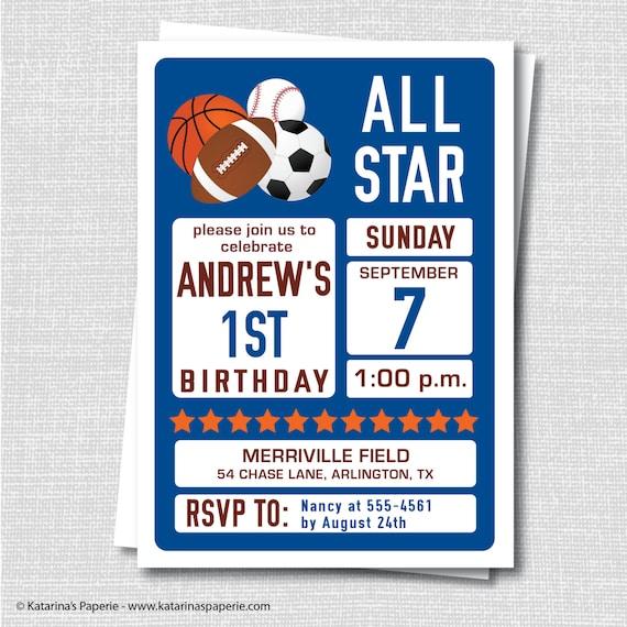 Sports Birthday Invitation Party All Star
