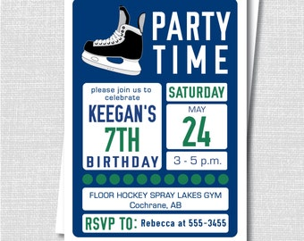 Navy Blue Hockey Birthday Invitation Ice Hockey Party Teen