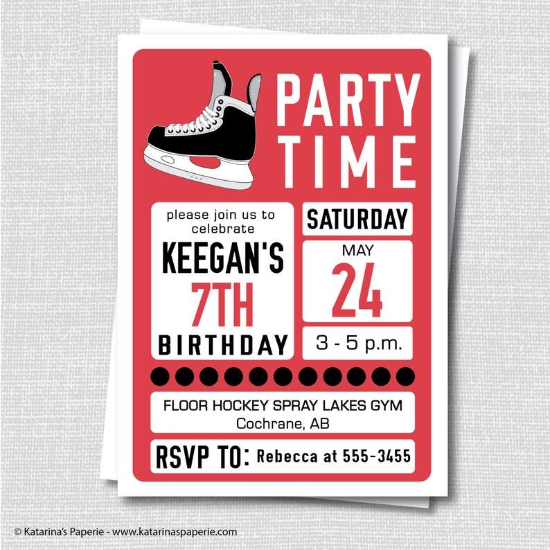 Hockey Birthday Invitation Ice Hockey Party Hockey Etsy