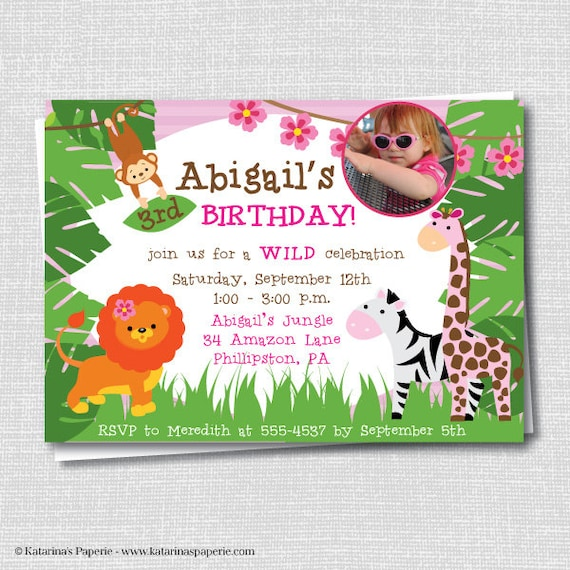 Girl Photo Jungle Birthday Invitation Party Zoo
