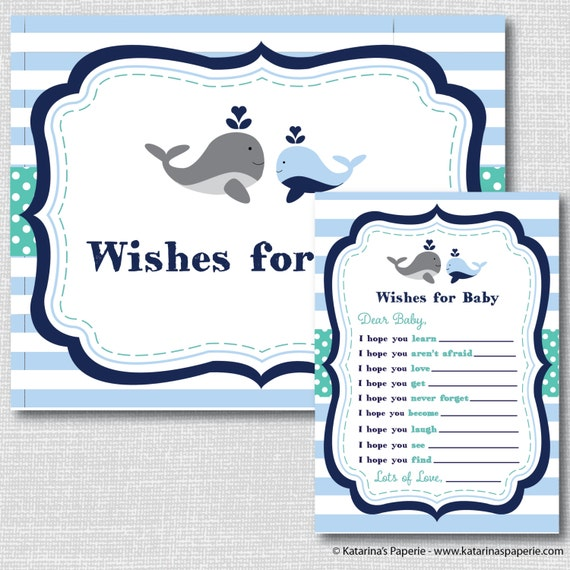 Whale Baby Shower Wish Card And Sign Printable Baby Shower Etsy
