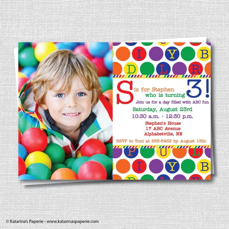 Abc Birthday Photo Invitation Alphabet Birthday Abc Party Etsy
