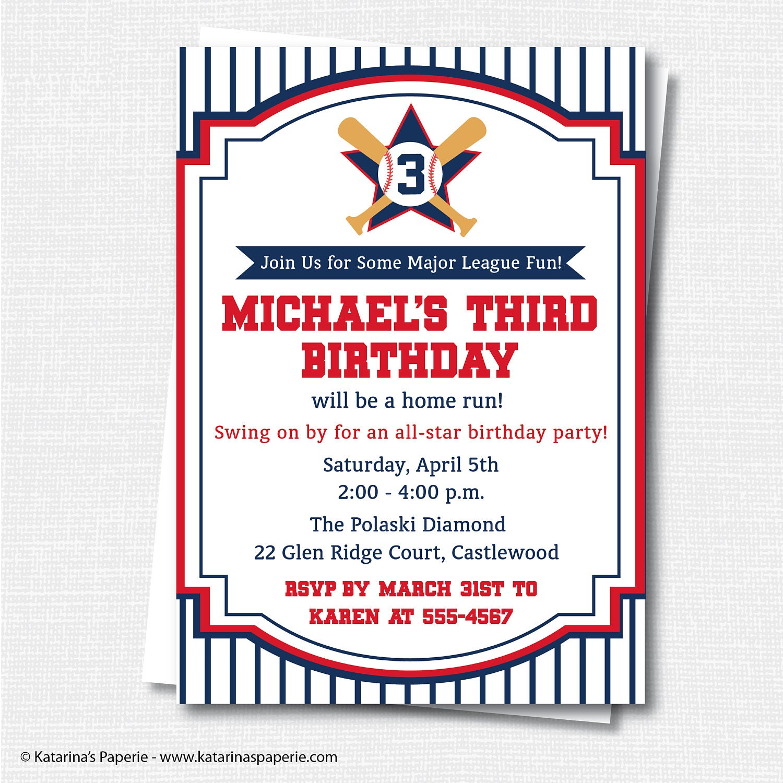Baseball Birthday Invitation Baseball Party Vintage | Etsy