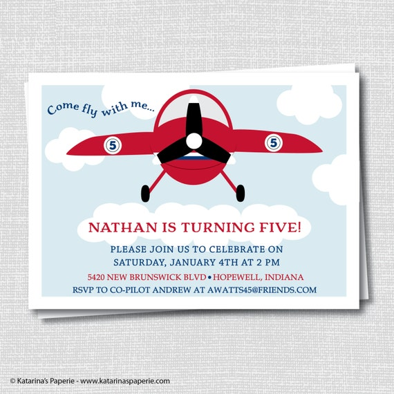 Red Airplane Birthday Invitation Vintage