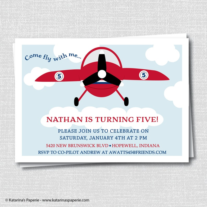Red Airplane Birthday Invitation Vintage