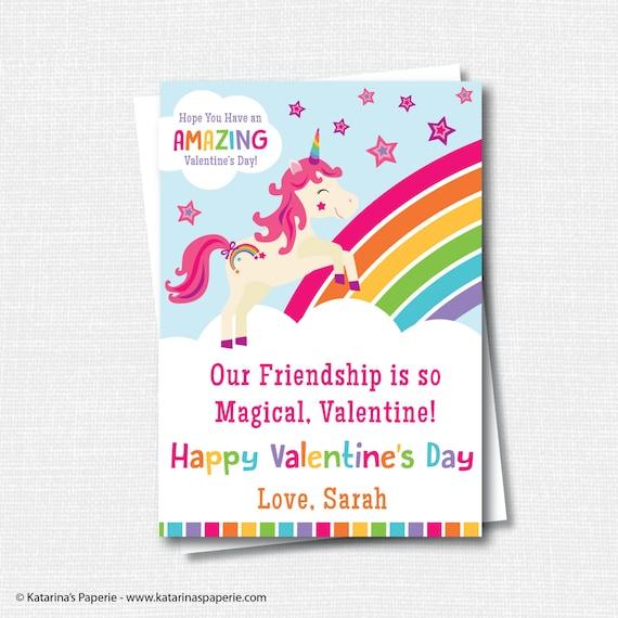 Rainbow Unicorn Valentine S Day Cards Unicorn Rainbow Etsy