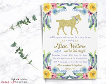 Floral Horse Baby Shower Invitation - Girl Baby Shower - Watercolor Floral - Digital Design or Handcrafted -FREE SHIPPING