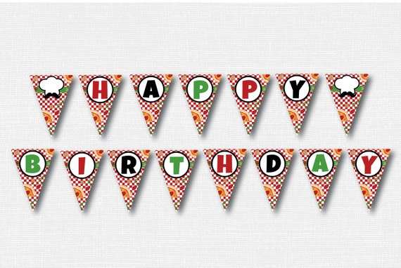 Pizza Happy Birthday Banner Pizza Themed Party Banner Etsy