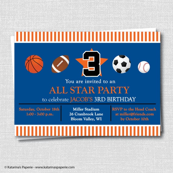 Sports Birthday Invitation Sports Party All Star Birthday Etsy