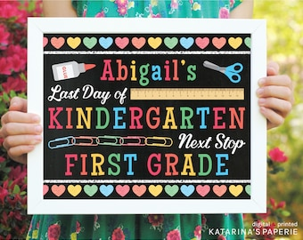 Colorful Last Day of School Chalkboard Sign - End of the Year Sign - Rainbow End of the Year Sign - Custom Digital Design - Two Sizes