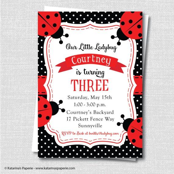 Red Ladybug Birthday Invitation Party Girl