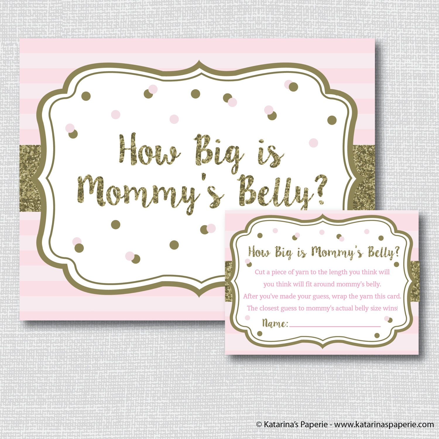Pink And Gold Sparkle Baby Shower How Big Is Mommys Belly