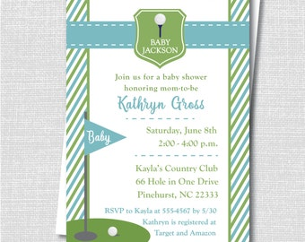 Light Blue and Green Golf Baby Shower Invitation - Golf Themed Baby Shower - Digital Design or Printed Invitations - FREE SHIPPING