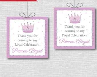 Purple Princess Birthday Party Favor Tags - Princess Themed Birthday - Digital Design or Handcrafted Tags - FREE SHIPPING
