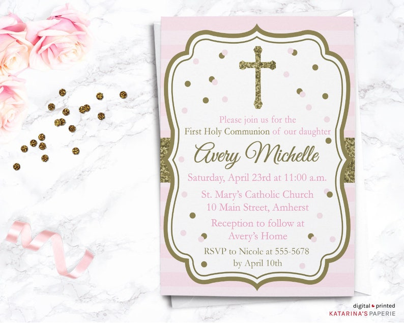Pink And Gold First Communion Invitation First Holy Etsy