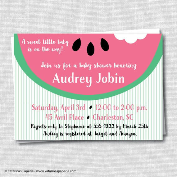 Pink Watermelon Baby Shower Invitation Watermelon Theme Etsy