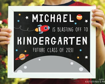 Last Day of School Rocket Ship Chalkboard Sign - End of the Year Sign - Custom Digital Design - Two Sizes