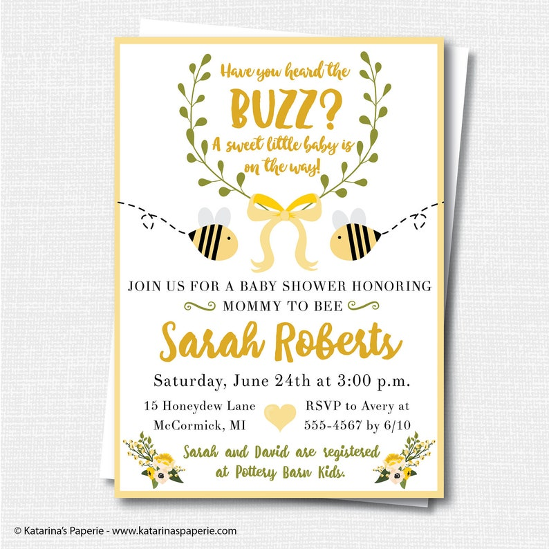 Gender Neutral Bumblebee Baby Shower Invitation Bee Themed Etsy
