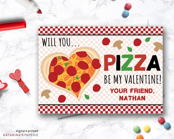 Pizza Valentine Day Cards Boy Valentine Card Classroom Etsy