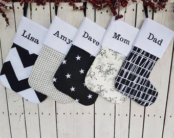 Family Christmas stockings, black and white stockings,  stockings, monochrome stockings
