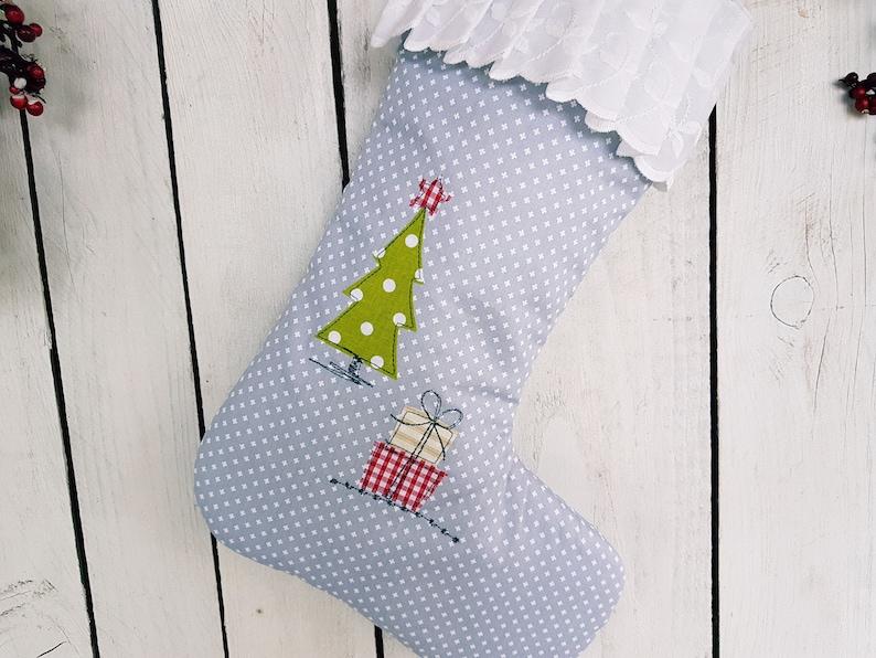 girls stocking apliqued christmas stocking baby boys Christmas stocking