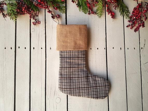 burlap stockings Christmas stockings family christmas stockings tan stockings dogtooth stockings black stockings Plaid stockings