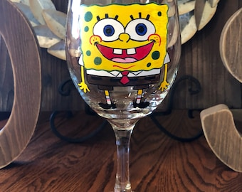 Hand Painted Spongebob and Patrick Wine Glass