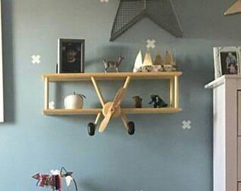 Large DIY Airplane Shelf Kit Wood Decor Biplane Party Bedroom