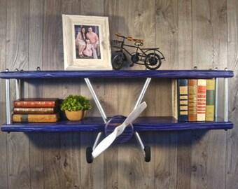 XXL Airplane Shelf Biplane Vintage Wood