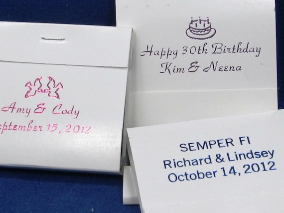 100 personalized matchbooks wedding favors bridal shower custom printed matches