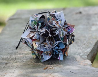 Small Kusudama Ball Comic Origami Flower Wedding Centerpiece Cake Topper