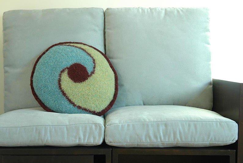 Aqua Swirl Pillow Pattern for Hand-Knitters image 0
