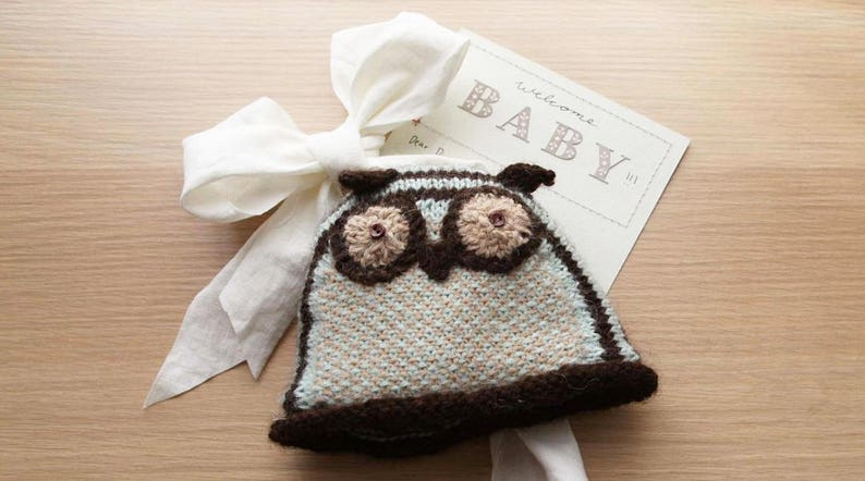 Owl Hat Knitting Pattern for Babies image 0